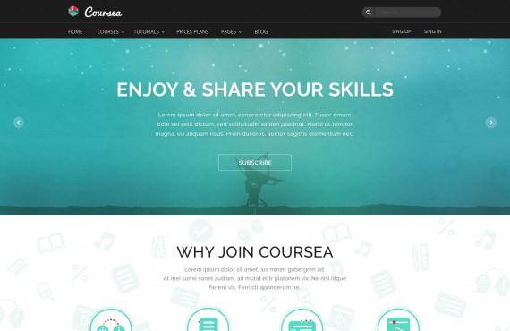 coursea – online tutorials & courses template screenshot 2