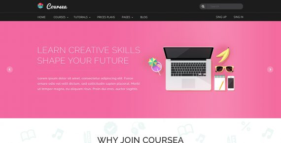 coursea – online tutorials & courses psd template screenshot 11