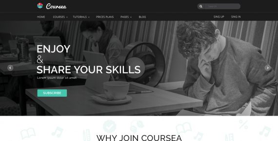 coursea – online tutorials & courses psd template screenshot 13
