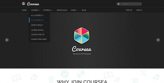 coursea – online tutorials & courses psd template screenshot 14