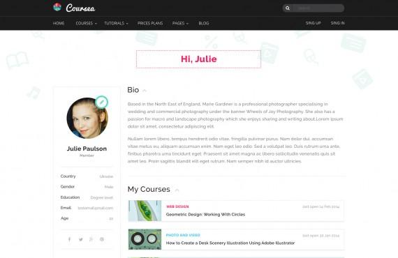 coursea – online tutorials & courses template screenshot 7
