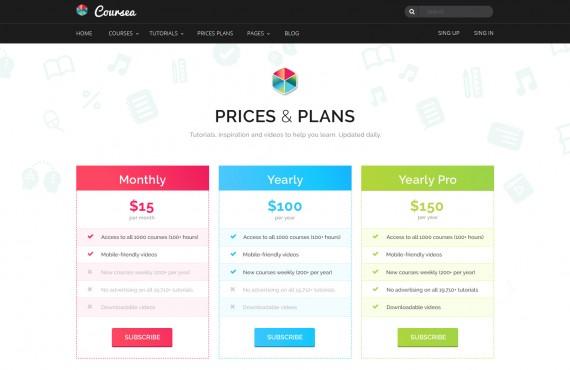 coursea – online tutorials & courses template screenshot 5