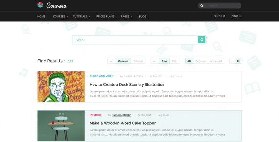 coursea – online tutorials & courses psd template screenshot 22