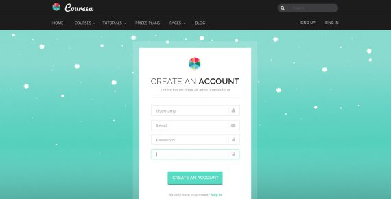 coursea – online tutorials & courses psd template screenshot 25