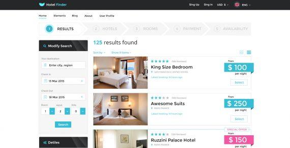 hotel finder – online booking psd template screenshot 17