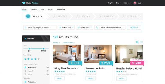 hotel finder – online booking psd template screenshot 18