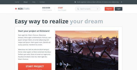 kickstars – crowdfunding psd template screenshot 5