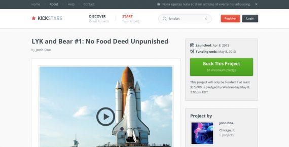 kickstars – crowdfunding psd template screenshot 9