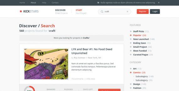 kickstars – crowdfunding psd template screenshot 10