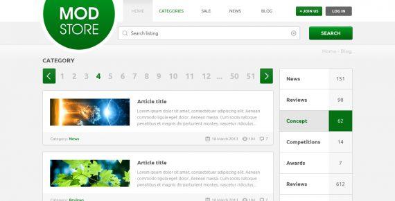 modstore – online shop psd template screenshot 1