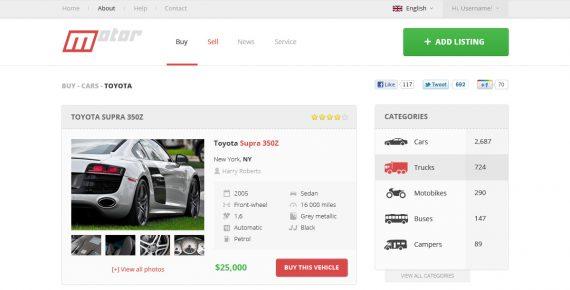 motor – vehicle marketplace psd template screenshot 2