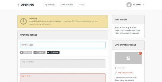 opening – job board psd template screenshot 1