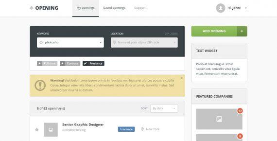 opening – job board psd template screenshot 4