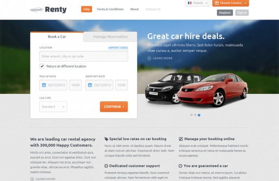 renty – car rental & booking html5 template screenshot 11