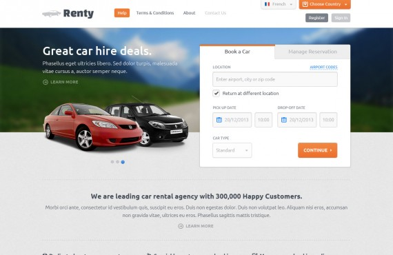 renty – car rental & booking html5 template screenshot 2