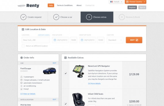 renty – car rental & booking html5 template screenshot 3