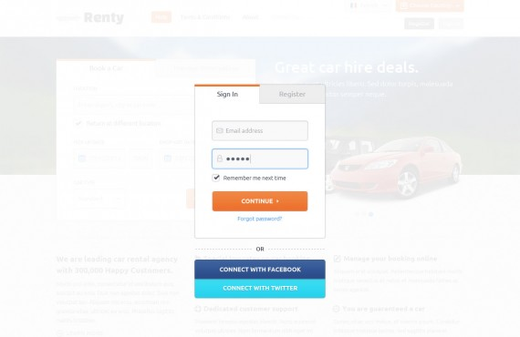 renty – car rental & booking html5 template screenshot 6