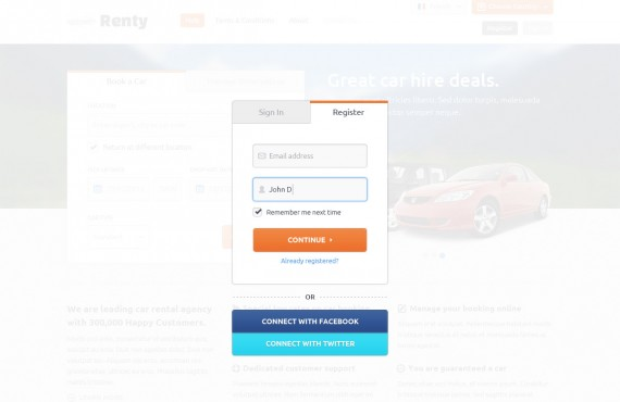 renty – car rental & booking html5 template screenshot 1