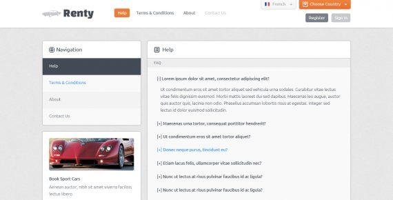 renty – car rental & booking html5 template screenshot 3