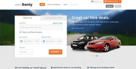 renty – car rental & booking html5 template screenshot 5