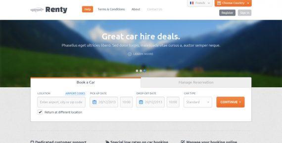 renty – car rental & booking html5 template screenshot 7