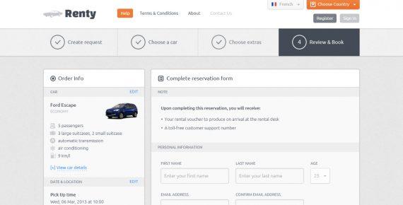 renty – car rental & booking html5 template screenshot 9