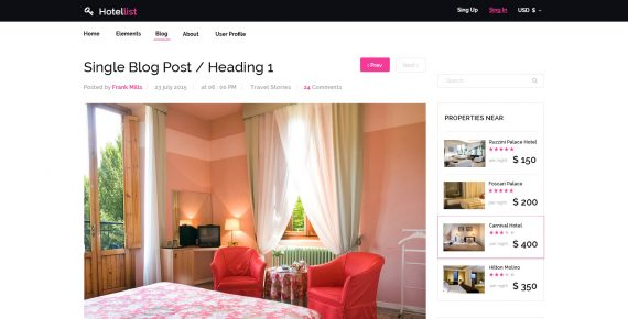 hotellist – multipurpose psd template screenshot 2