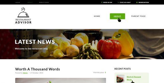 restaurant advisor – multipurpose psd template screenshot 1