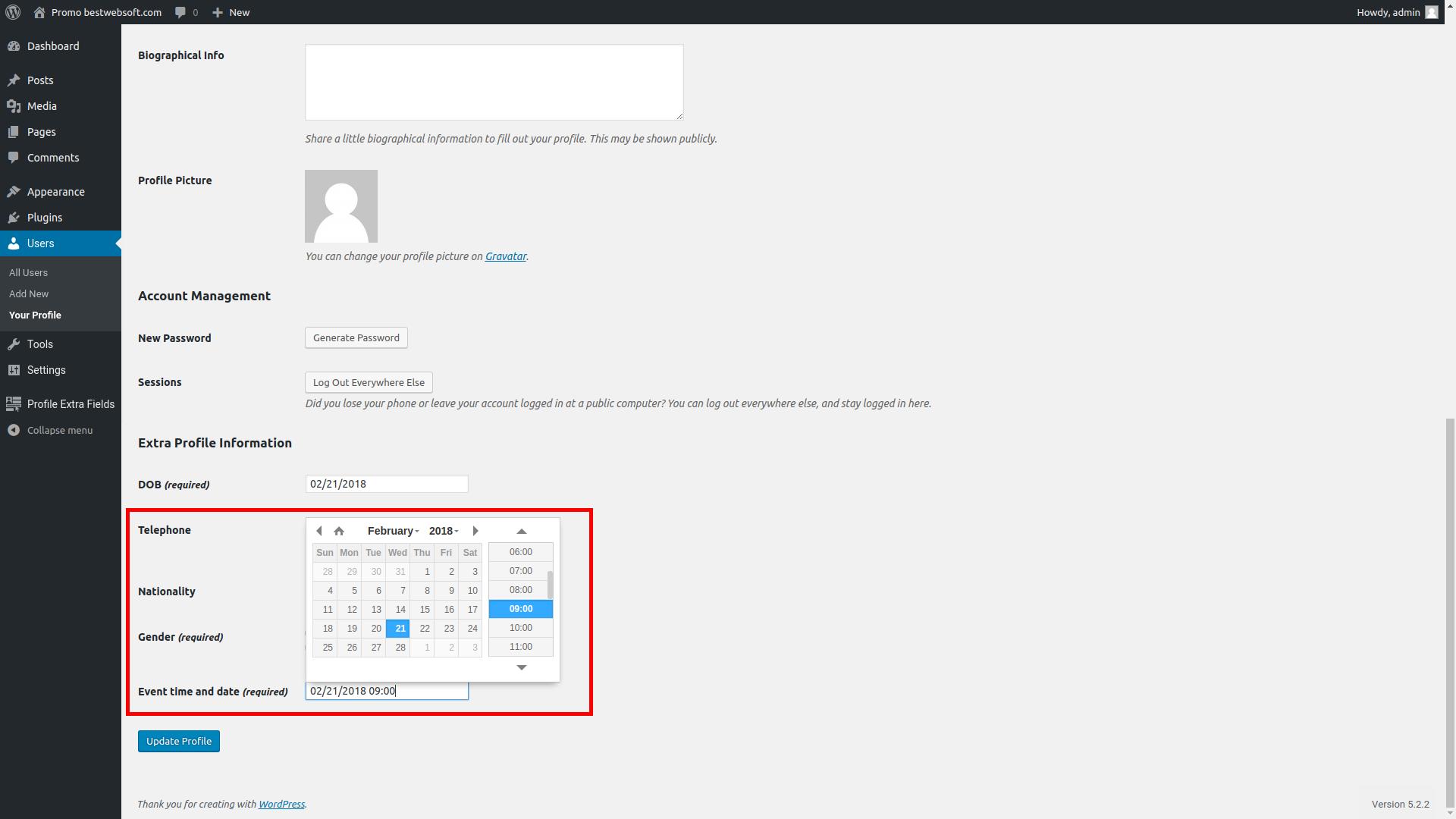 profile extra fields screenshot 10