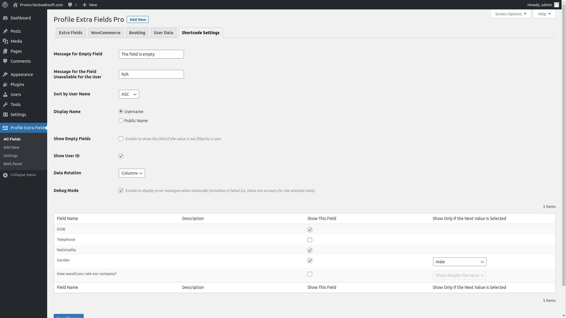 profile extra fields screenshot 11