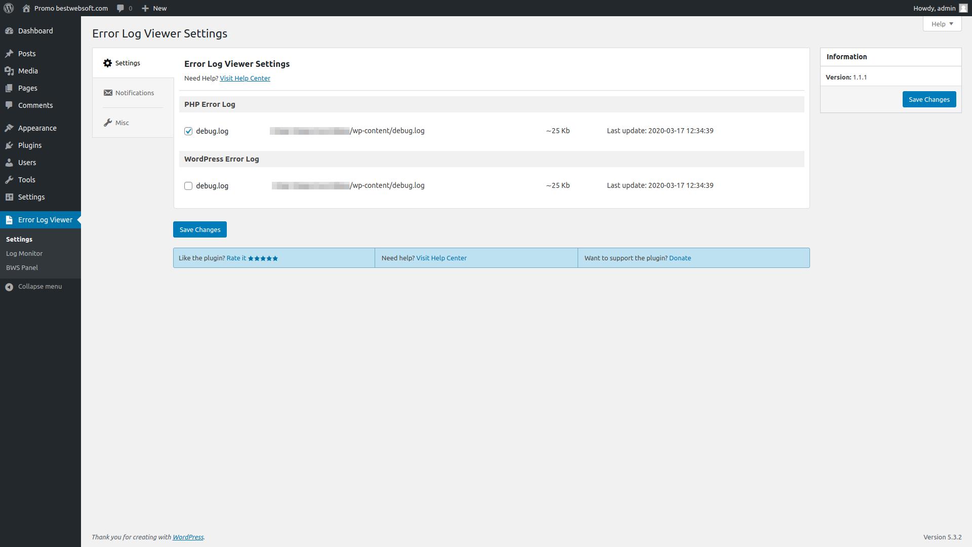 error log viewer screenshot 1