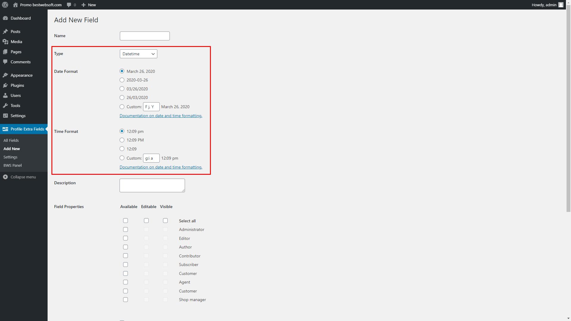 profile extra fields screenshot 4