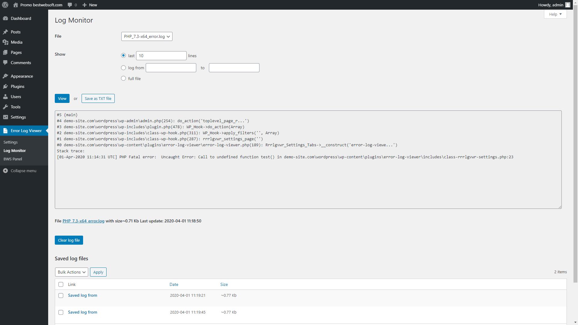 error log viewer screenshot 3