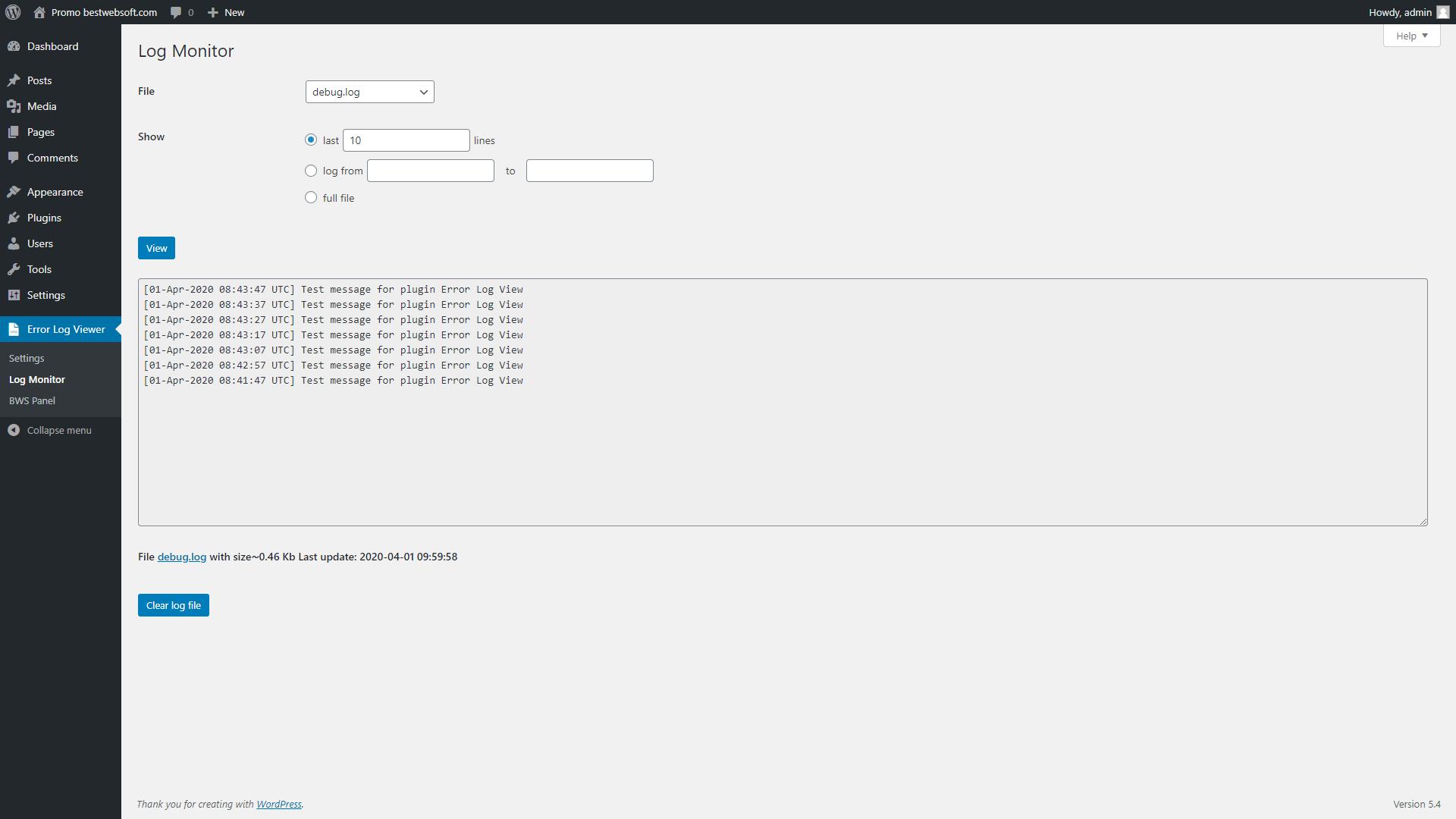 error log viewer screenshot 4