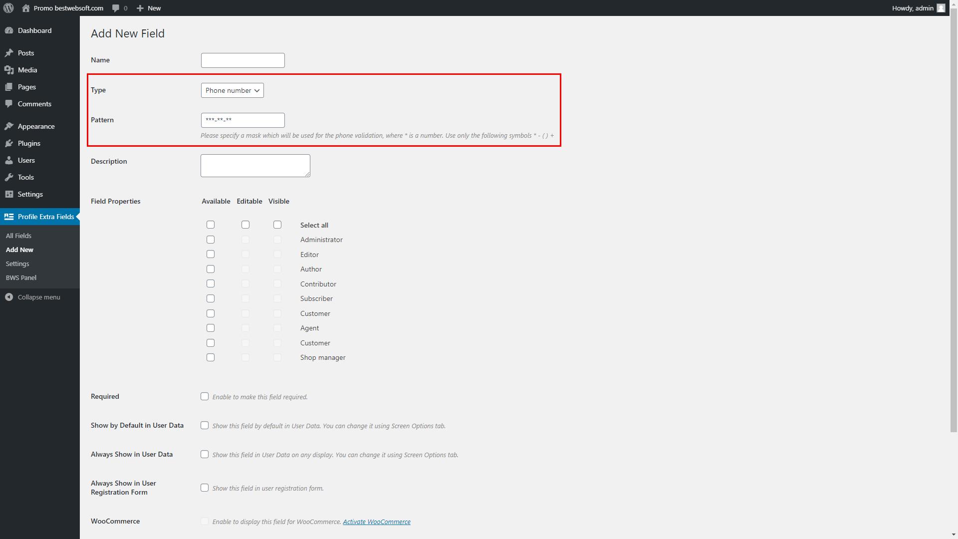 profile extra fields screenshot 6