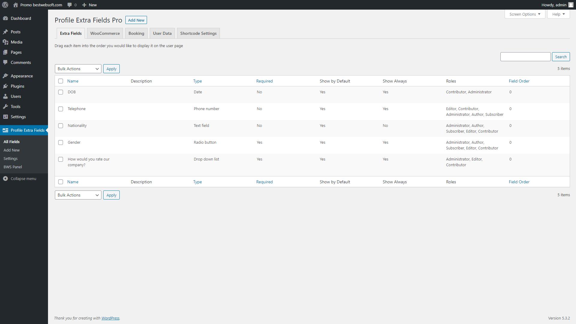 profile extra fields screenshot 7
