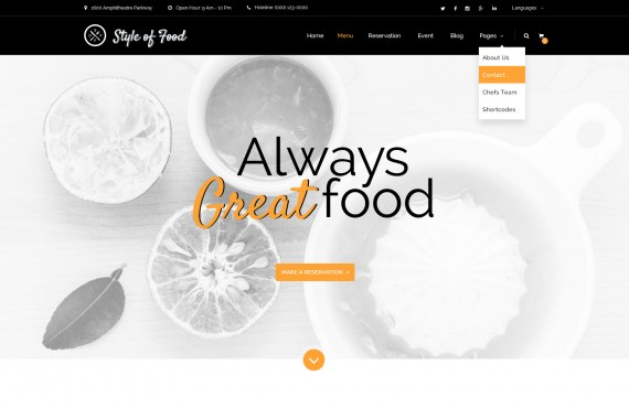 style of food – restaurant & cafe psd template screenshot 1