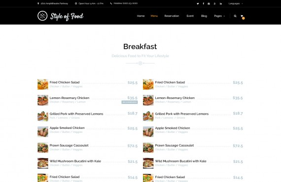 style of food – restaurant & cafe psd template screenshot 2
