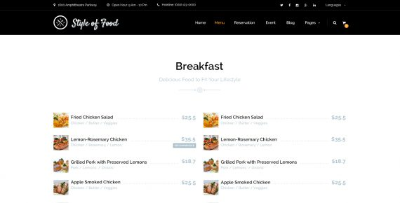 style of food – restaurant & cafe psd template screenshot 3