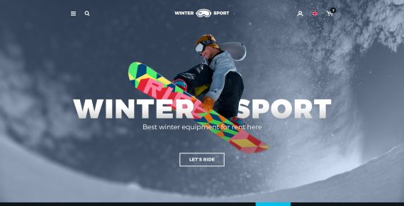 winter sport – ski & snowboard rental psd template screenshot 1
