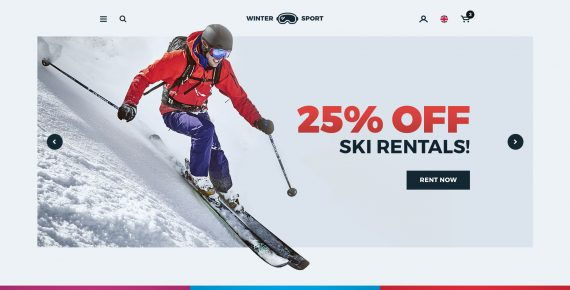winter sport – ski & snowboard rental psd template screenshot 2