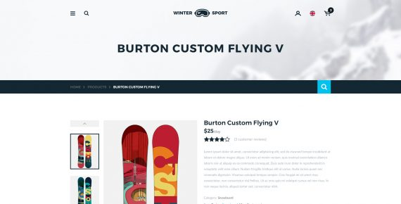 winter sport – ski & snowboard rental psd template screenshot 7