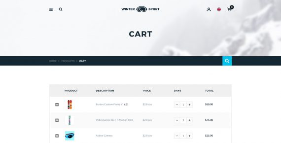 winter sport – ski & snowboard rental psd template screenshot 10