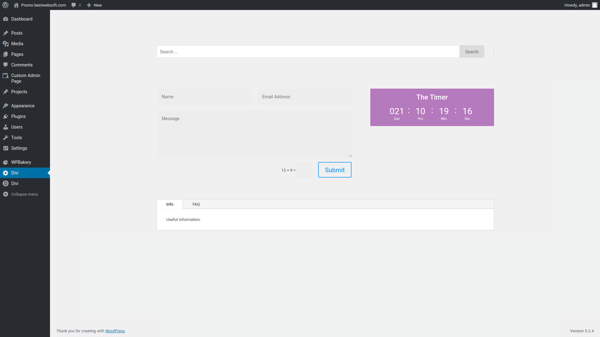 custom admin page screenshot 1
