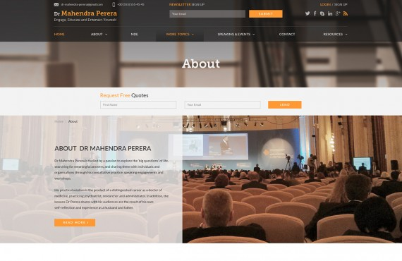 web design for a public speaker screenshot 3