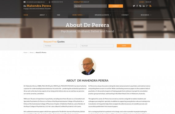 web design for a public speaker screenshot 2