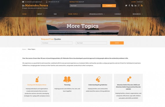 web design for a public speaker screenshot 5