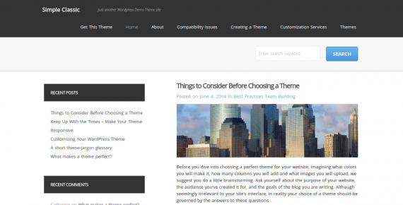 simple classic – wordpress theme screenshot 1