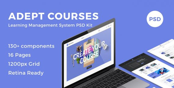 adept courses – learning management system psd kit screenshot 1