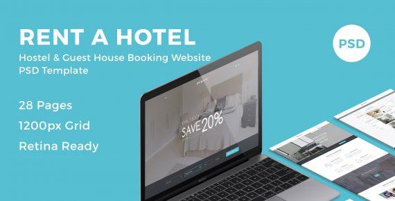 rent a hotel – hostel & guest house booking website psd template screenshot 1